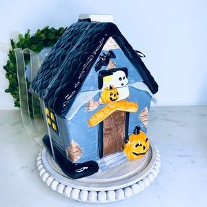 Halloween house cookie jar, haunted house canister unique pairs with Rae Dunn